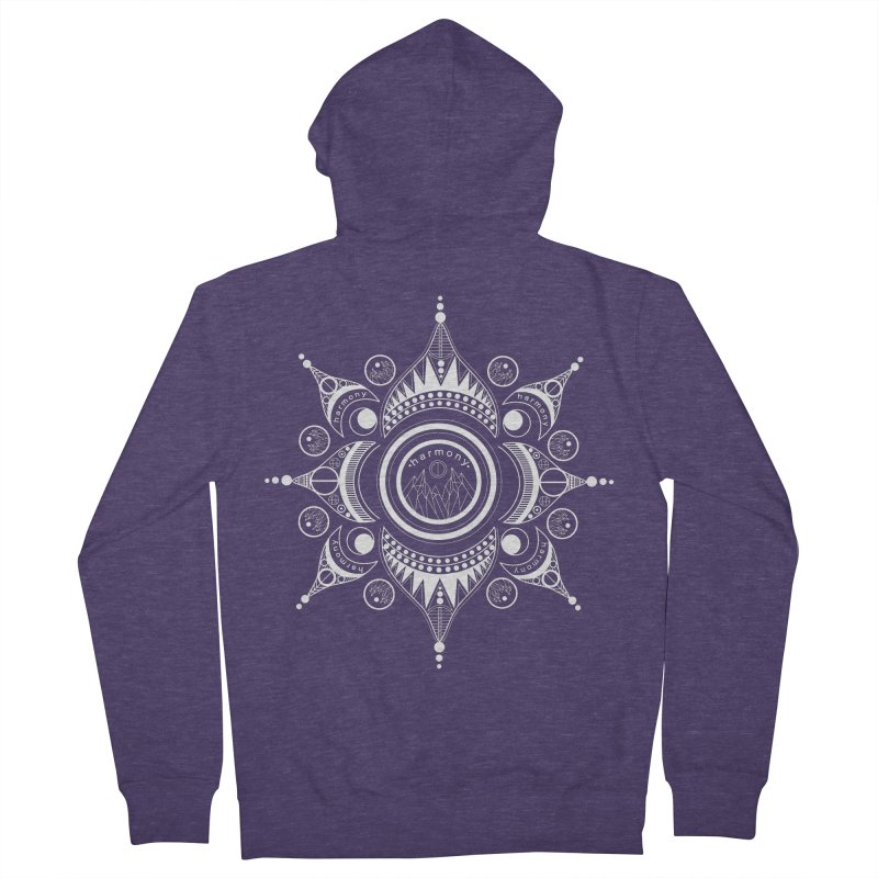 Harmony (White) Men's French Terry Zip-Up Hoody by Alison Sommer's Artist Shop