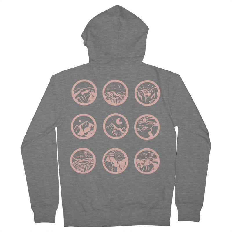 Pink Mountains Women's Zip-Up Hoody by Alison Sommer's Artist Shop