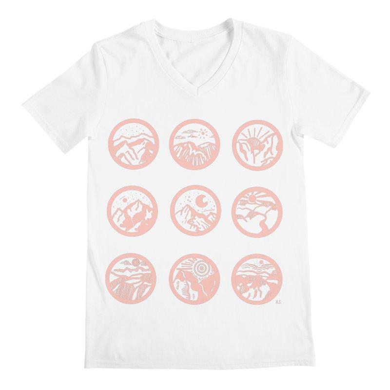Pink Mountains Men's V-Neck by Alison Sommer's Artist Shop