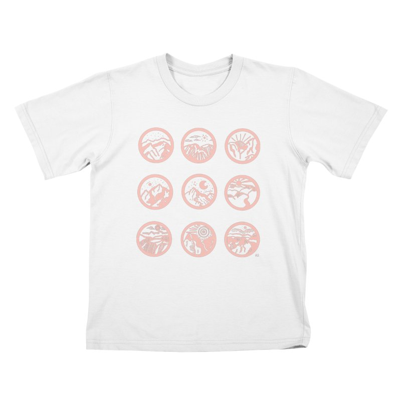 Pink Mountains Kids T-Shirt by Alison Sommer's Artist Shop