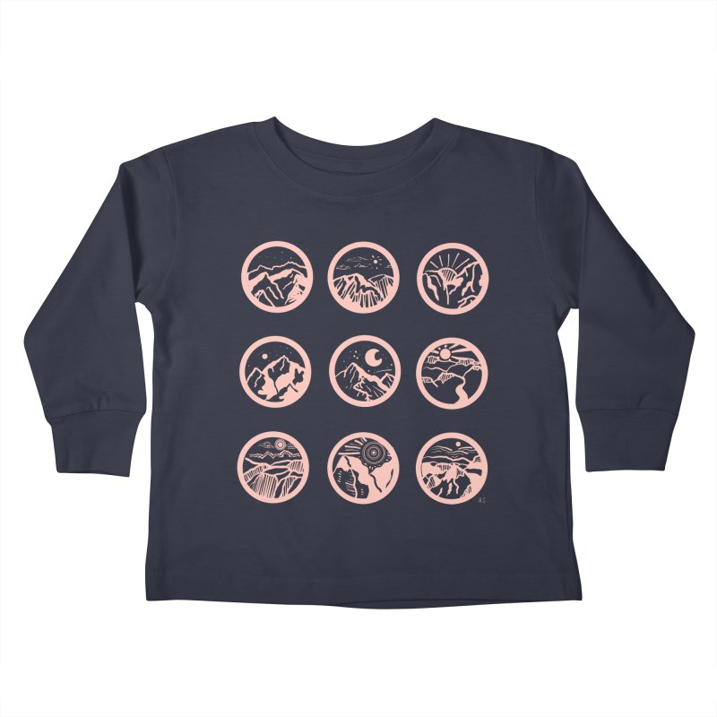 Pink Mountains Kids Toddler Longsleeve T-Shirt by Alison Sommer's Artist Shop