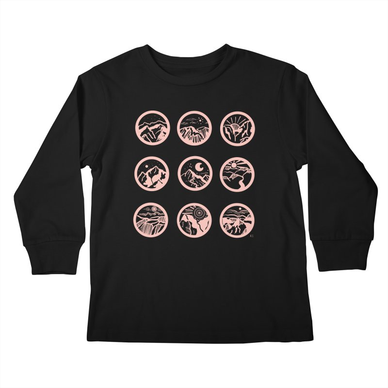 Pink Mountains Kids Longsleeve T-Shirt by Alison Sommer's Artist Shop