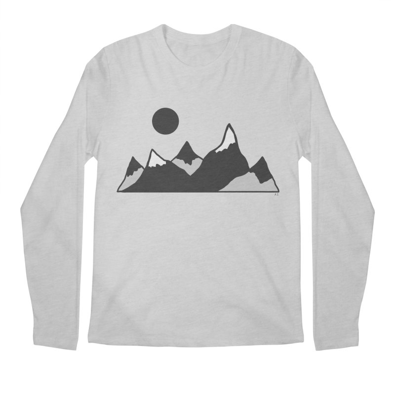 Gray Mountains Men's Regular Longsleeve T-Shirt by Alison Sommer's Artist Shop