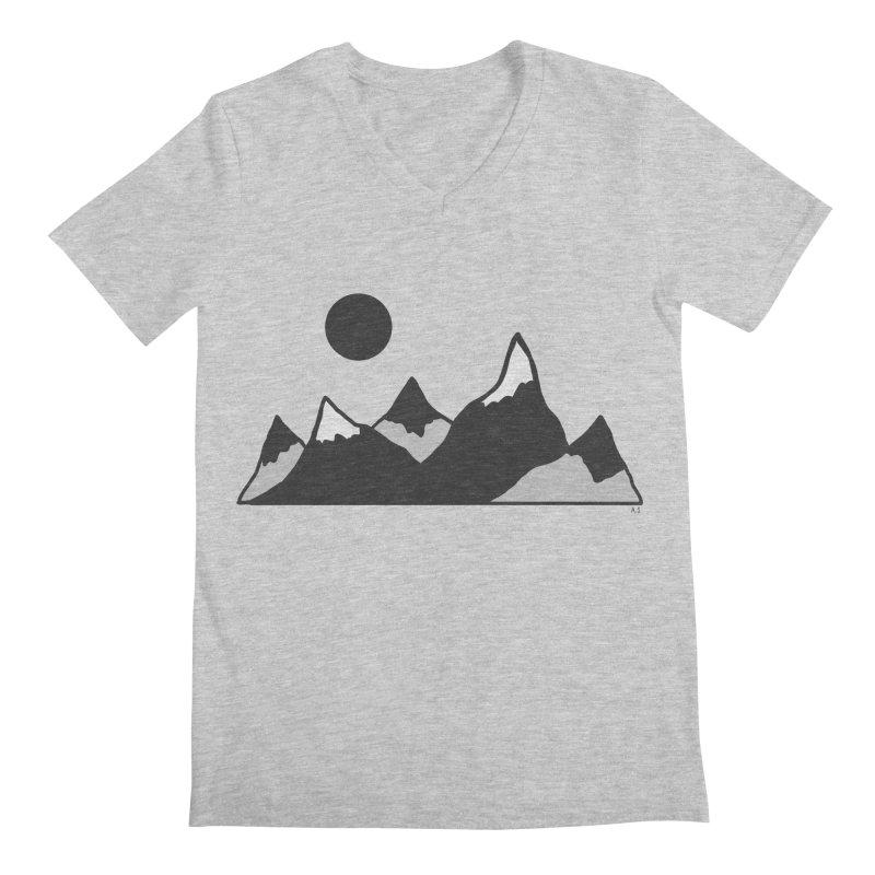 Gray Mountains Men's Regular V-Neck by Alison Sommer's Artist Shop
