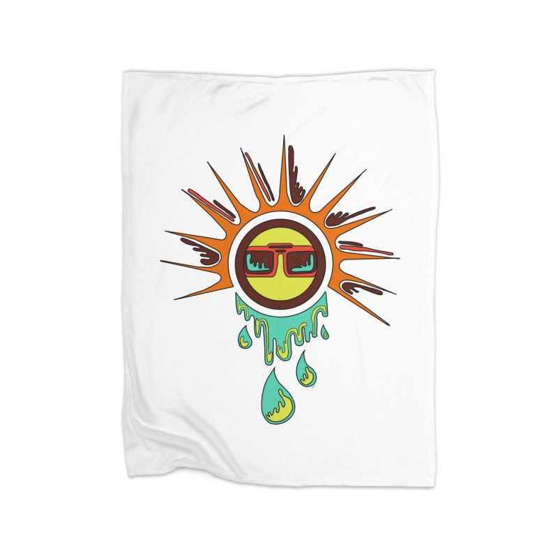 Melting Sun Home Fleece Blanket Blanket by Alison Sommer's Artist Shop