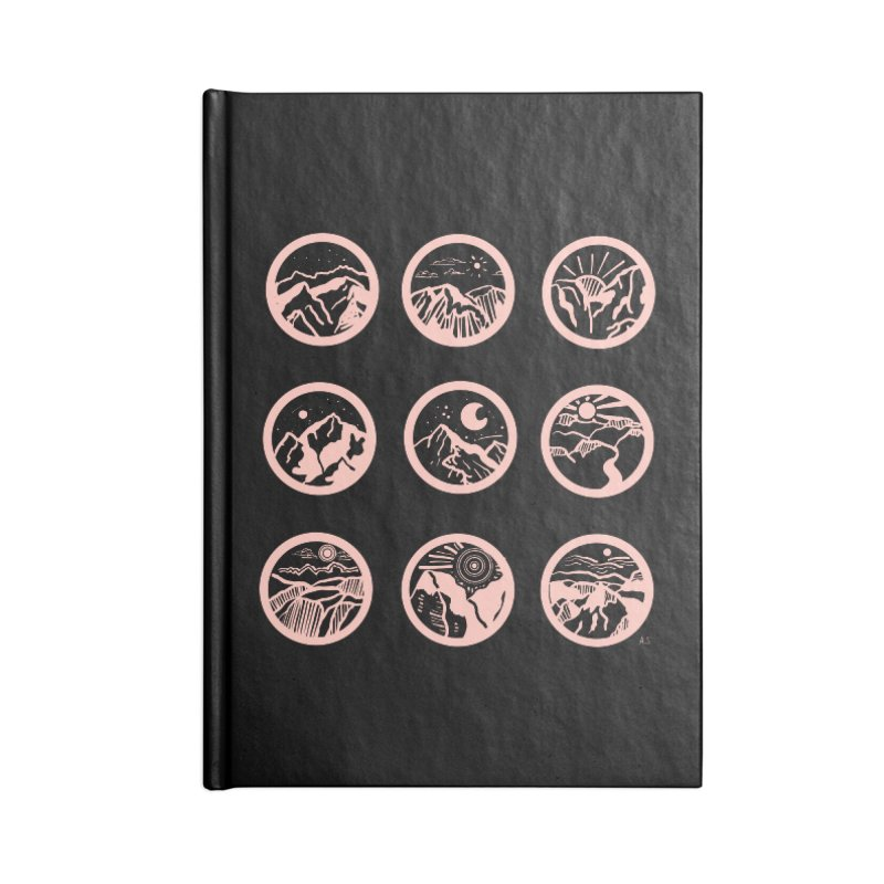 Pink/Black Mountains Accessories Notebook by Alison Sommer's Artist Shop