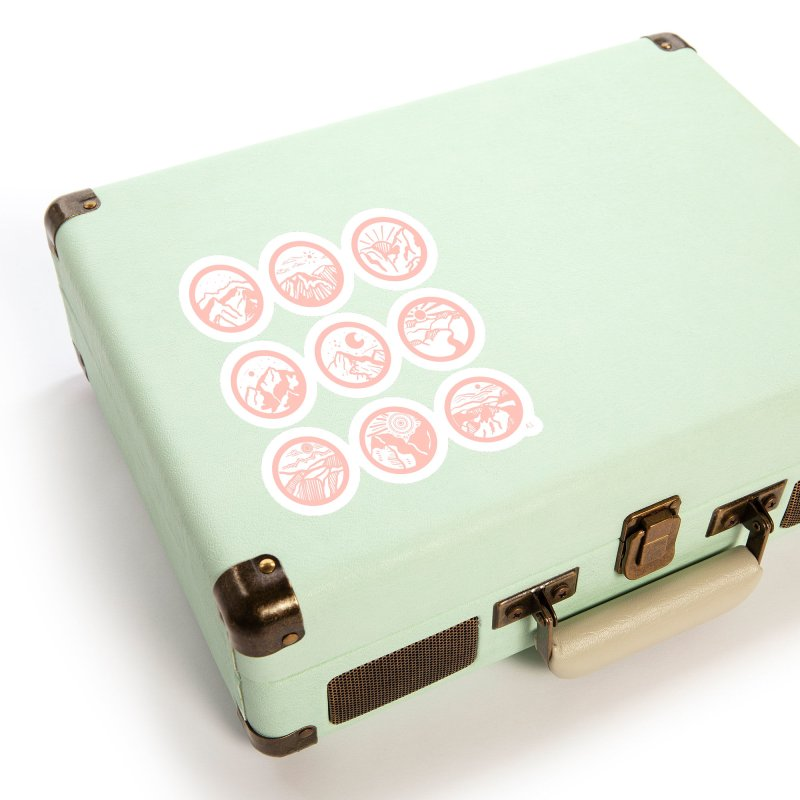Pink/Black Mountains Accessories Sticker by Alison Sommer's Artist Shop