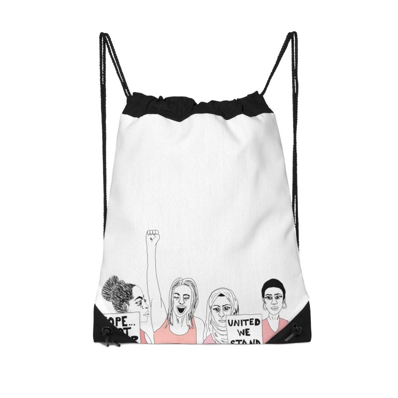 Unity (Pink) Accessories Drawstring Bag Bag by Alison Sommer's Artist Shop