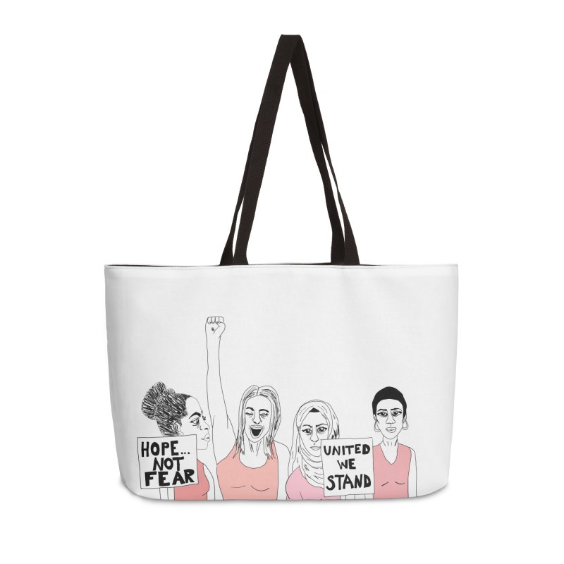 Unity (Pink) Accessories Weekender Bag Bag by Alison Sommer's Artist Shop