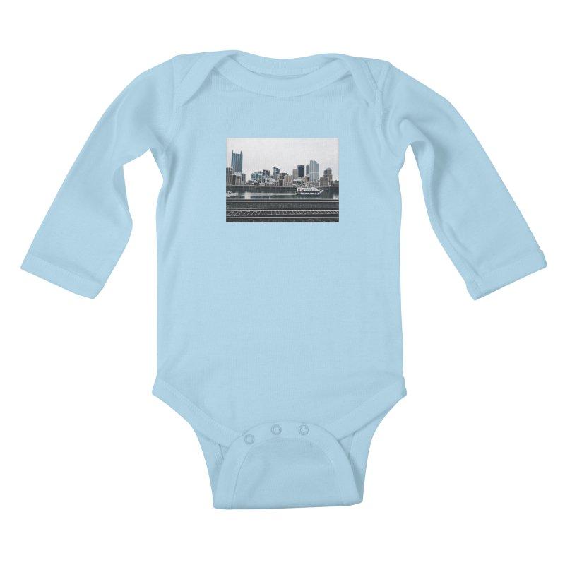 Pittsburgh Kids Baby Longsleeve Bodysuit by Alison Sommer's Artist Shop