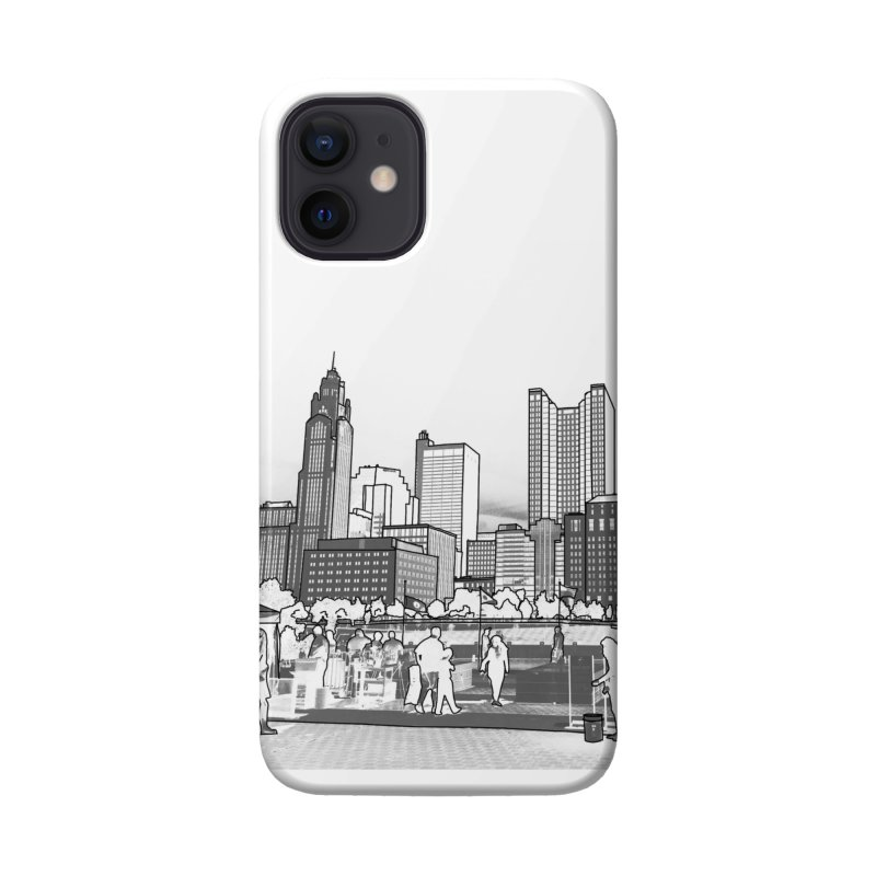 Columbus Skyline (White) Accessories Phone Case by Alison Sommer's Artist Shop