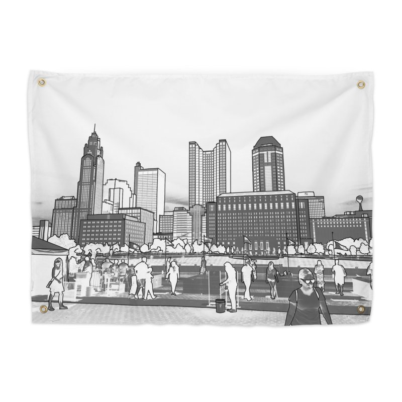 Columbus Skyline (White) Home Tapestry by Alison Sommer's Artist Shop