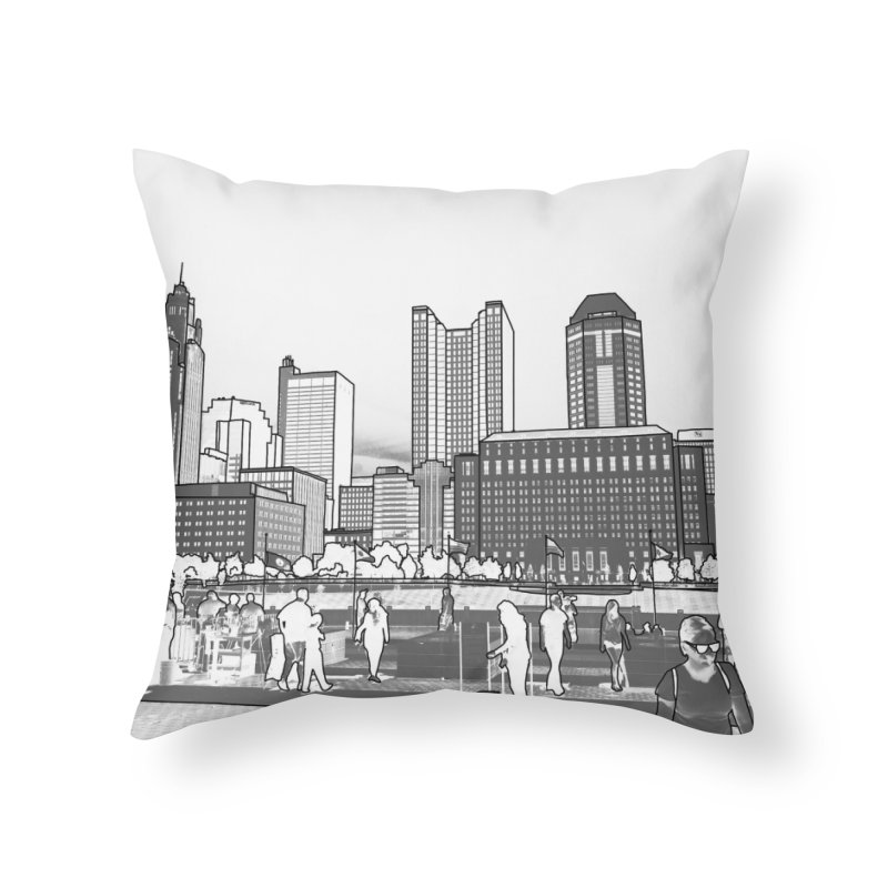 Columbus Skyline (White) Home Throw Pillow by Alison Sommer's Artist Shop
