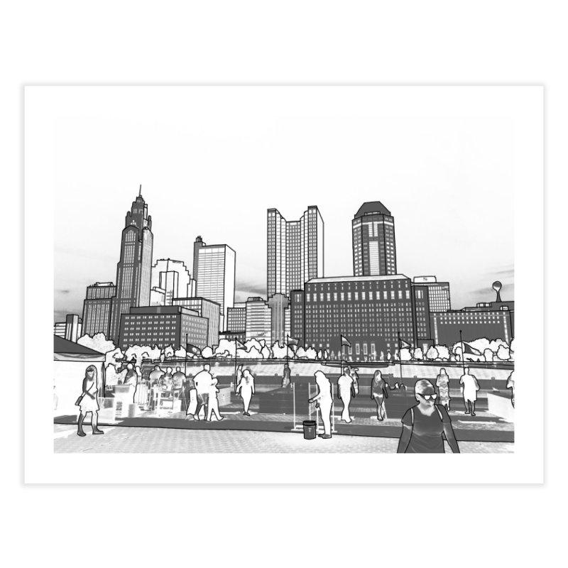 Columbus Skyline (White) Home Fine Art Print by Alison Sommer's Artist Shop