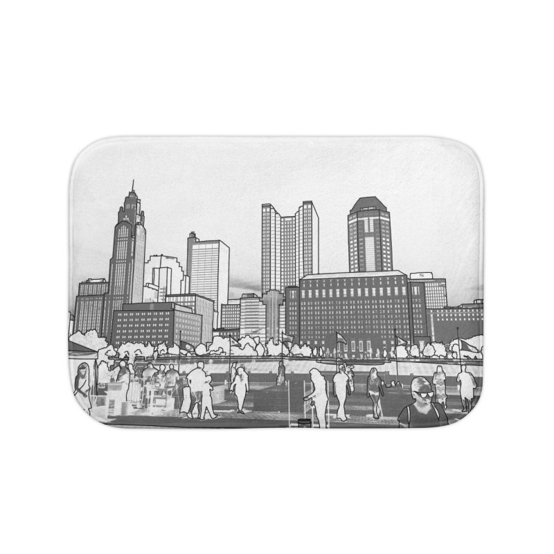 Columbus Skyline (White) Home Bath Mat by Alison Sommer's Artist Shop