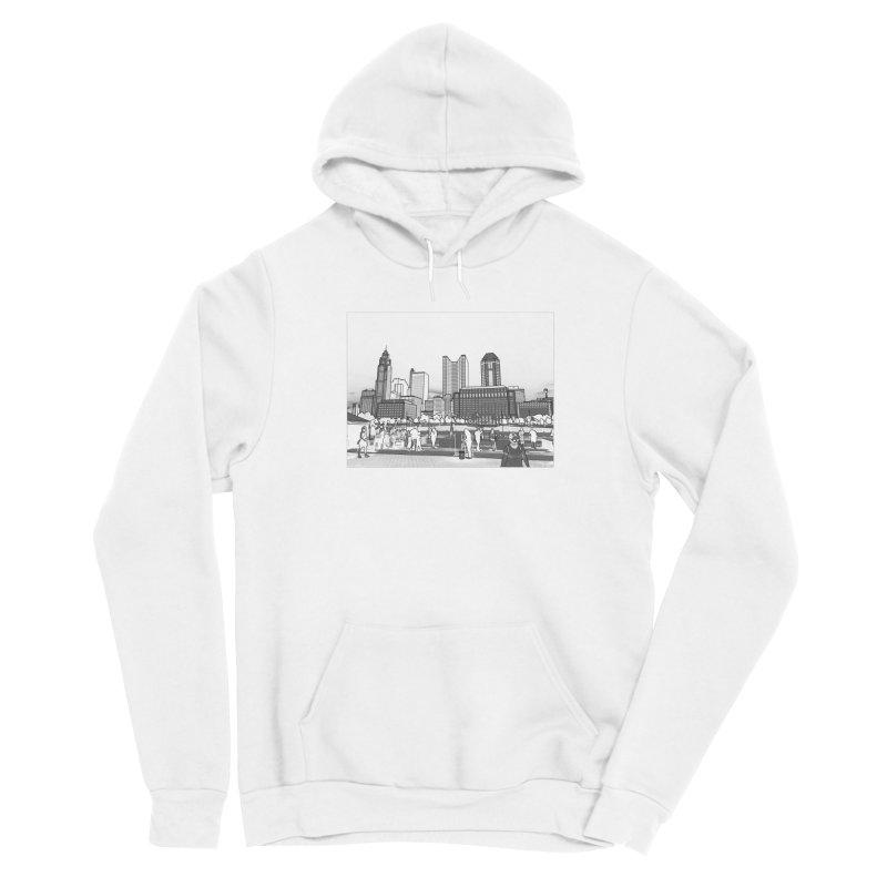Columbus Skyline (White) Men's Pullover Hoody by Alison Sommer's Artist Shop