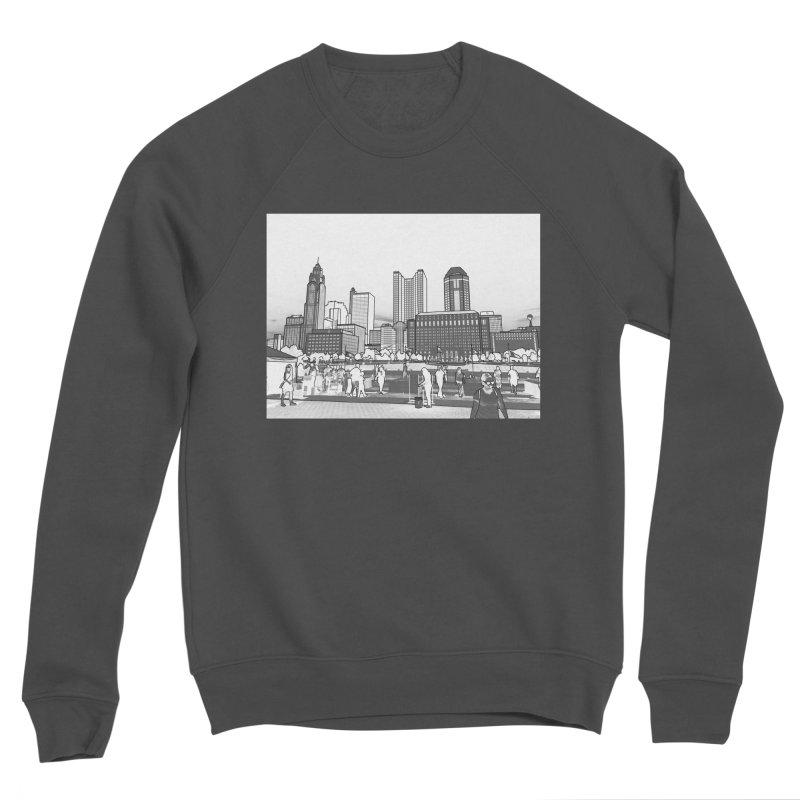 Columbus Skyline (White) Men's Sponge Fleece Sweatshirt by Alison Sommer's Artist Shop