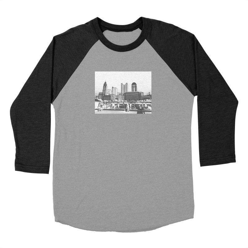 Columbus Skyline (White) Women's Baseball Triblend Longsleeve T-Shirt by Alison Sommer's Artist Shop