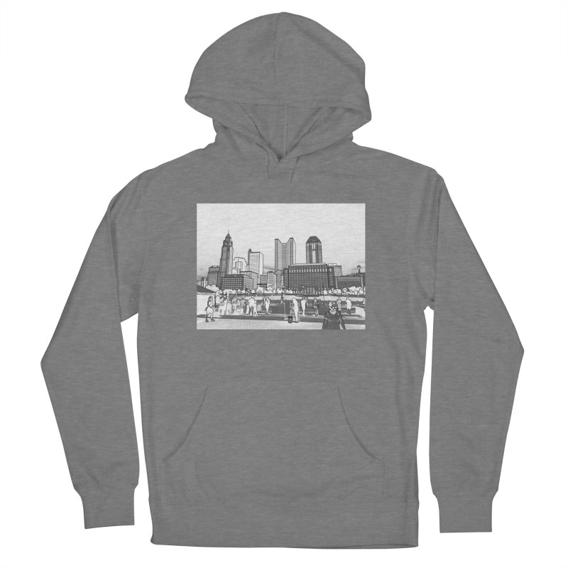 Columbus Skyline (White) Women's French Terry Pullover Hoody by Alison Sommer's Artist Shop
