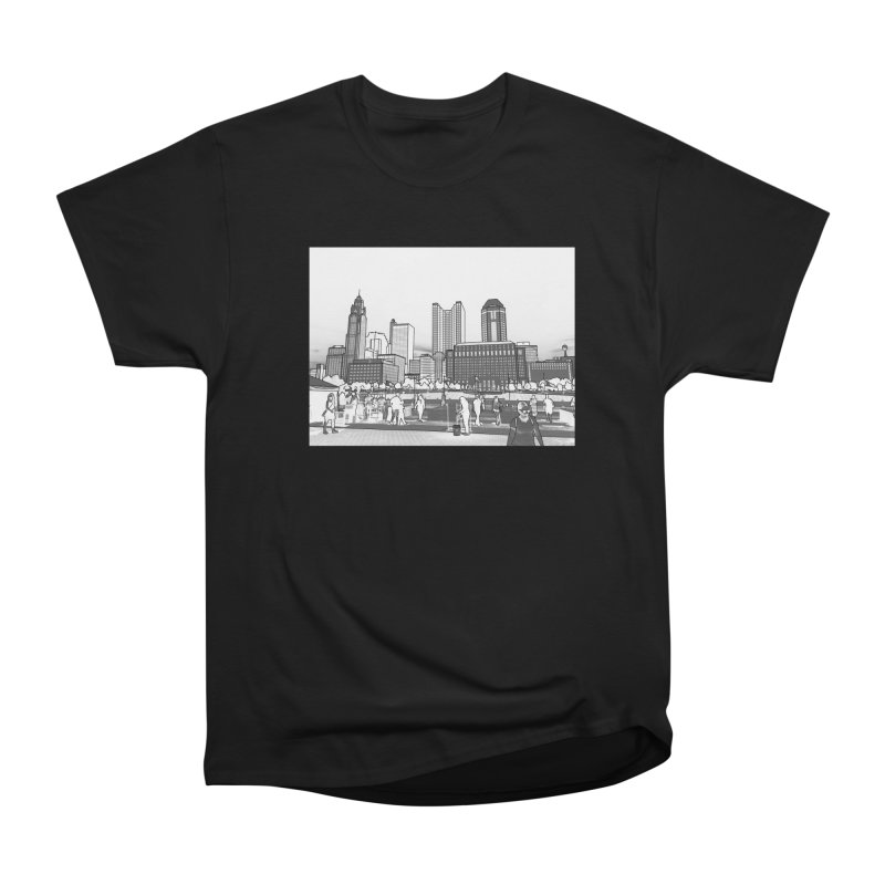 Columbus Skyline (White) Men's Heavyweight T-Shirt by Alison Sommer's Artist Shop