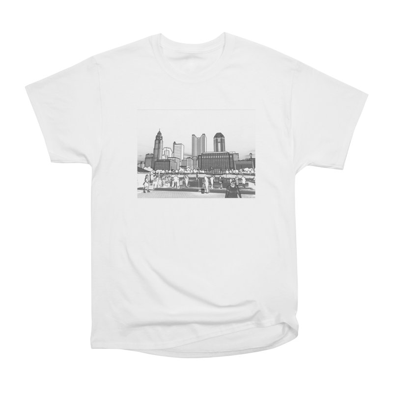 Columbus Skyline (White) Women's Heavyweight Unisex T-Shirt by Alison Sommer's Artist Shop