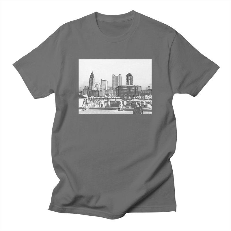 Columbus Skyline (White) Men's T-Shirt by Alison Sommer's Artist Shop