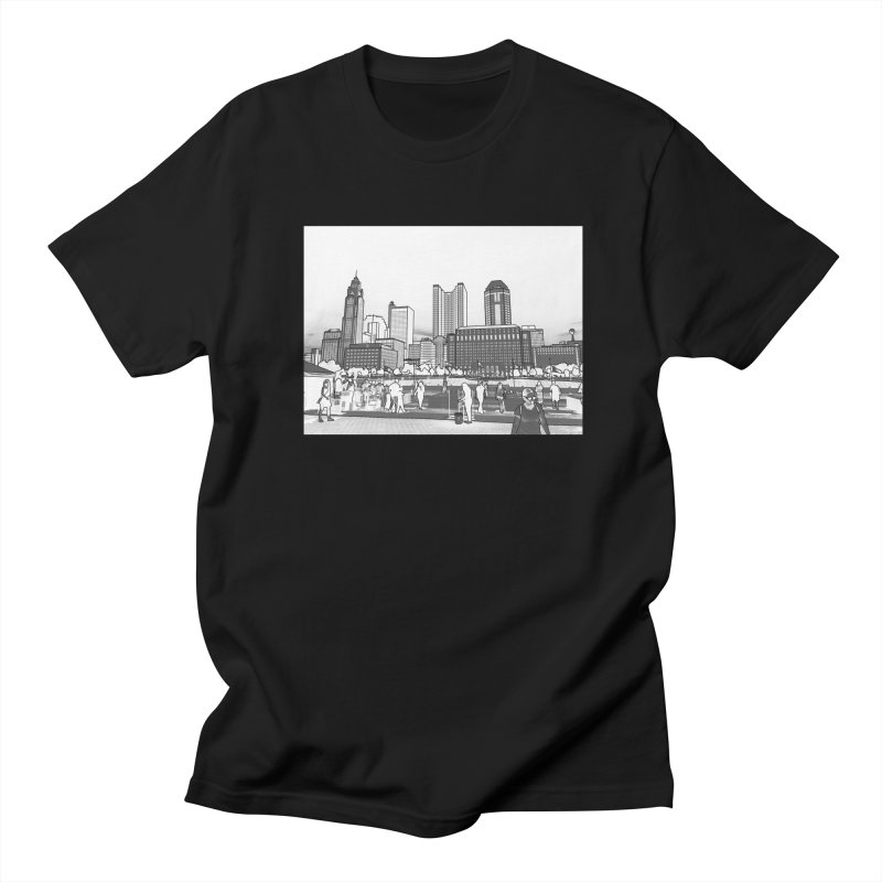 Columbus Skyline (White) Men's Regular T-Shirt by Alison Sommer's Artist Shop