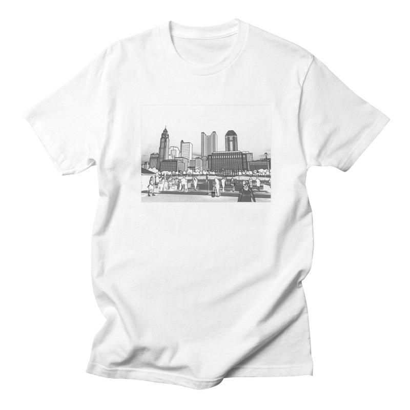 Columbus Skyline (White) Men's Regular T-Shirt by Alison Sommer's Artist Shop