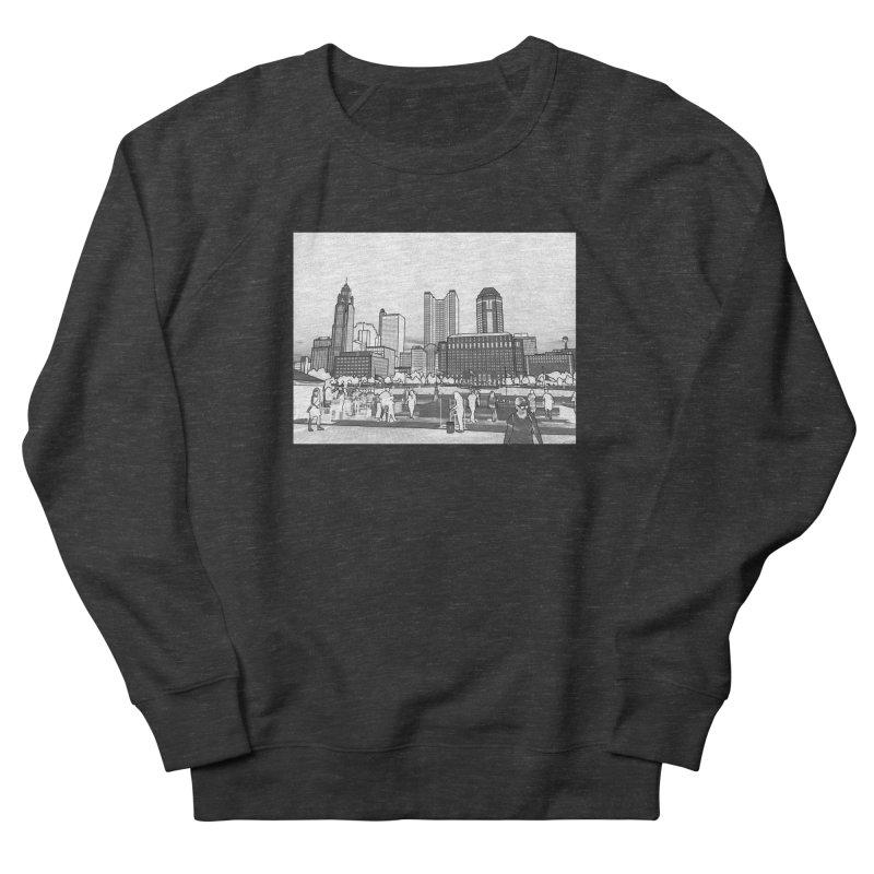 Columbus Skyline (White) Men's French Terry Sweatshirt by Alison Sommer's Artist Shop