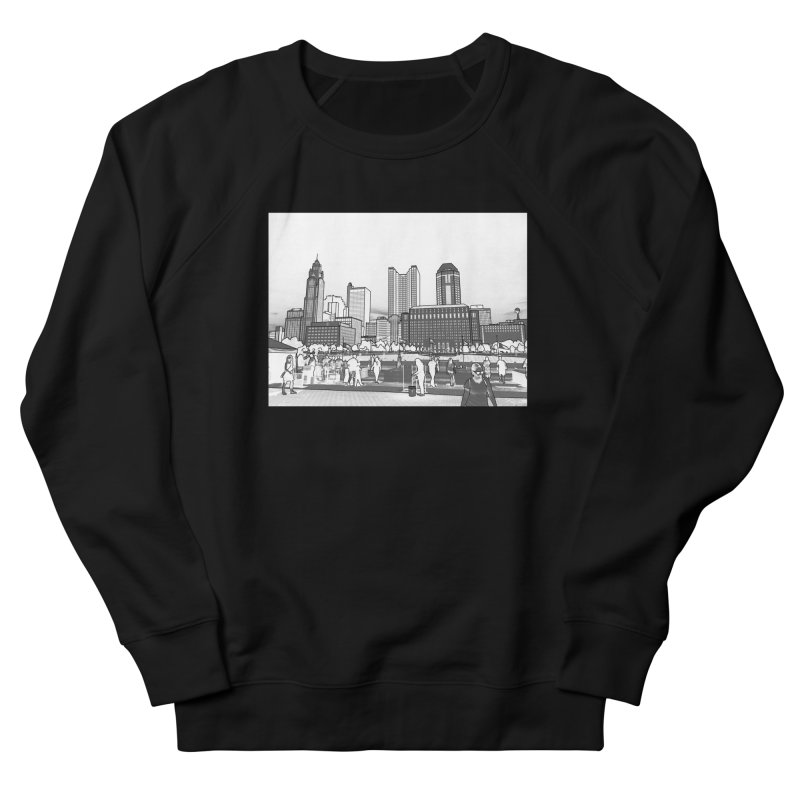 Columbus Skyline (White) Men's French Terry Sweatshirt by Alison Sommer's Artist Shop