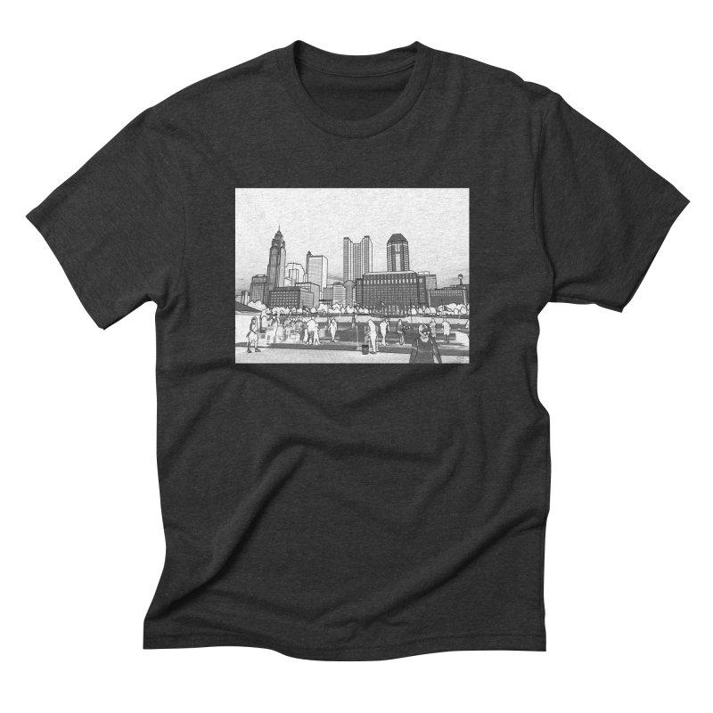 Columbus Skyline (White) Men's Triblend T-Shirt by Alison Sommer's Artist Shop