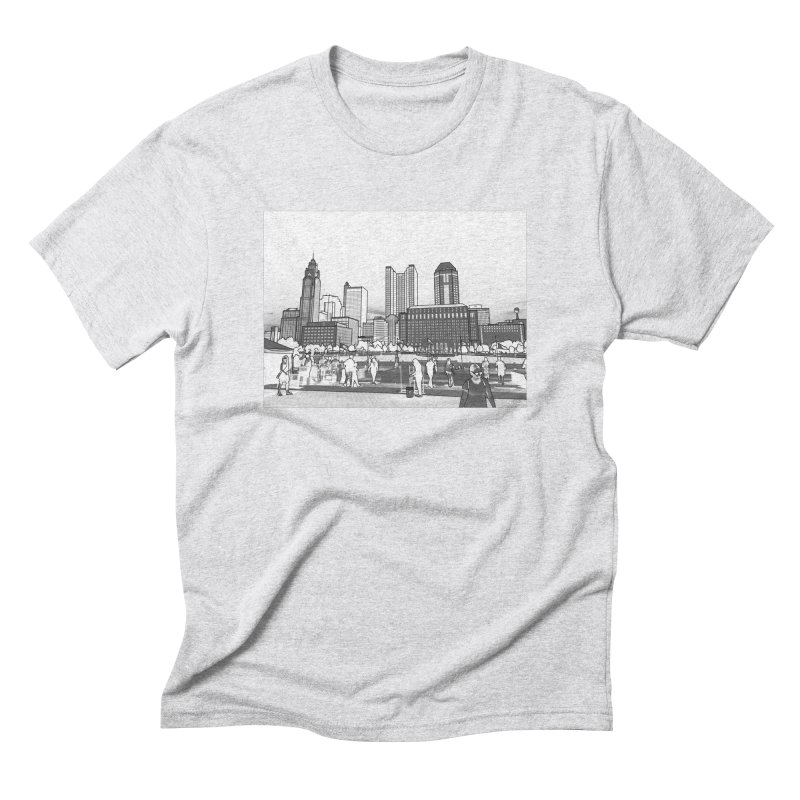 Columbus Skyline (White) Men's Triblend T-Shirt by Alison Sommer's Artist Shop