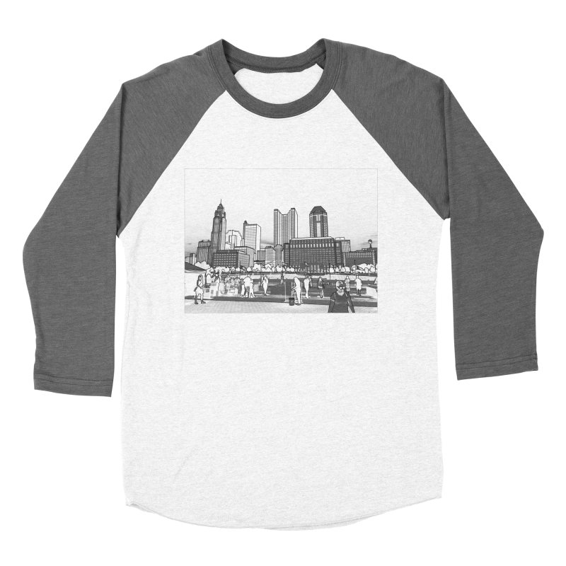 Columbus Skyline (White) Women's Baseball Triblend Longsleeve T-Shirt by Alison Sommer's Artist Shop