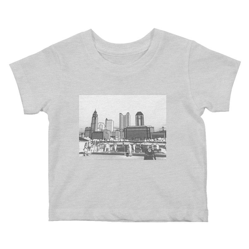 Columbus Skyline (White) Kids Baby T-Shirt by Alison Sommer's Artist Shop