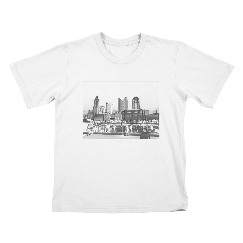 Columbus Skyline (White) Kids T-Shirt by Alison Sommer's Artist Shop