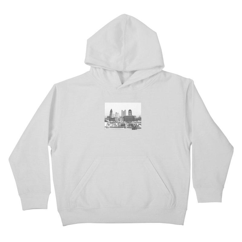 Columbus Skyline (White) Kids Pullover Hoody by Alison Sommer's Artist Shop