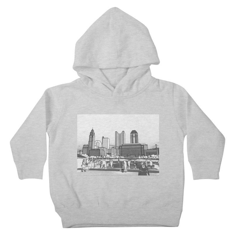 Columbus Skyline (White) Kids Toddler Pullover Hoody by Alison Sommer's Artist Shop
