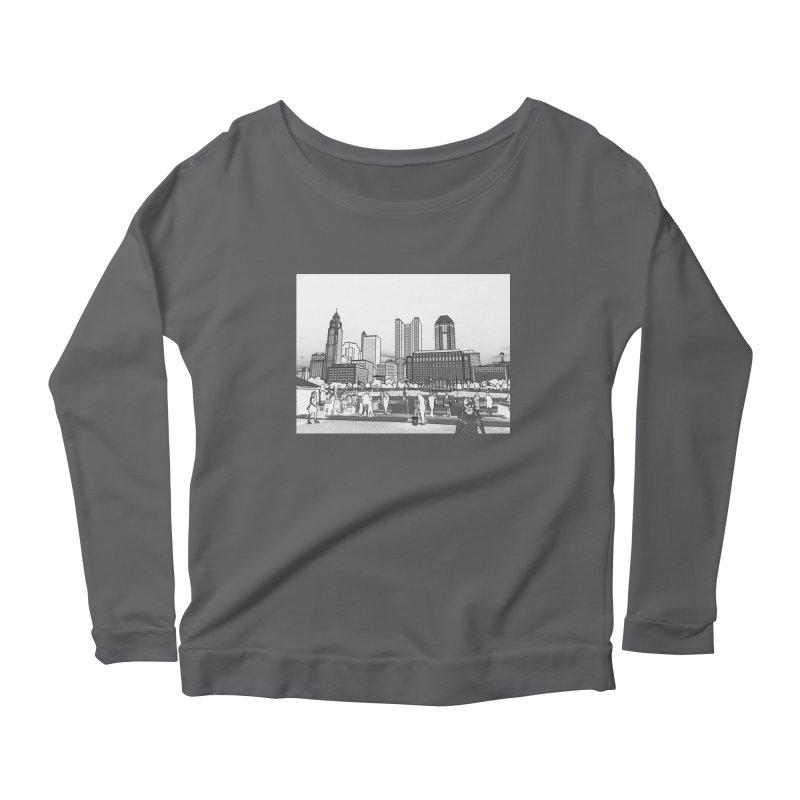 Columbus Skyline (White) Women's Scoop Neck Longsleeve T-Shirt by Alison Sommer's Artist Shop