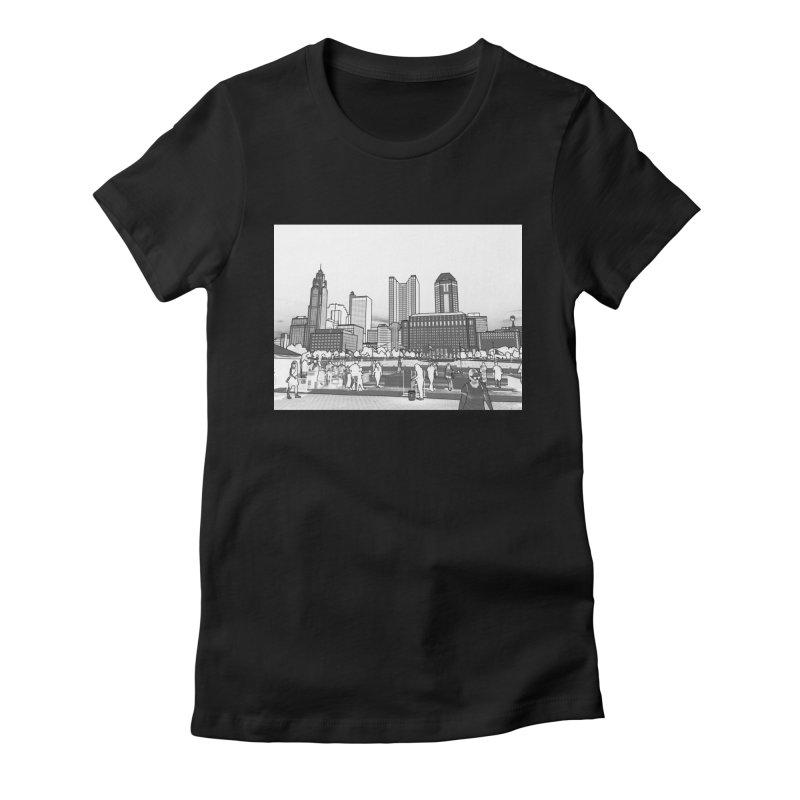 Columbus Skyline (White) Women's Fitted T-Shirt by Alison Sommer's Artist Shop
