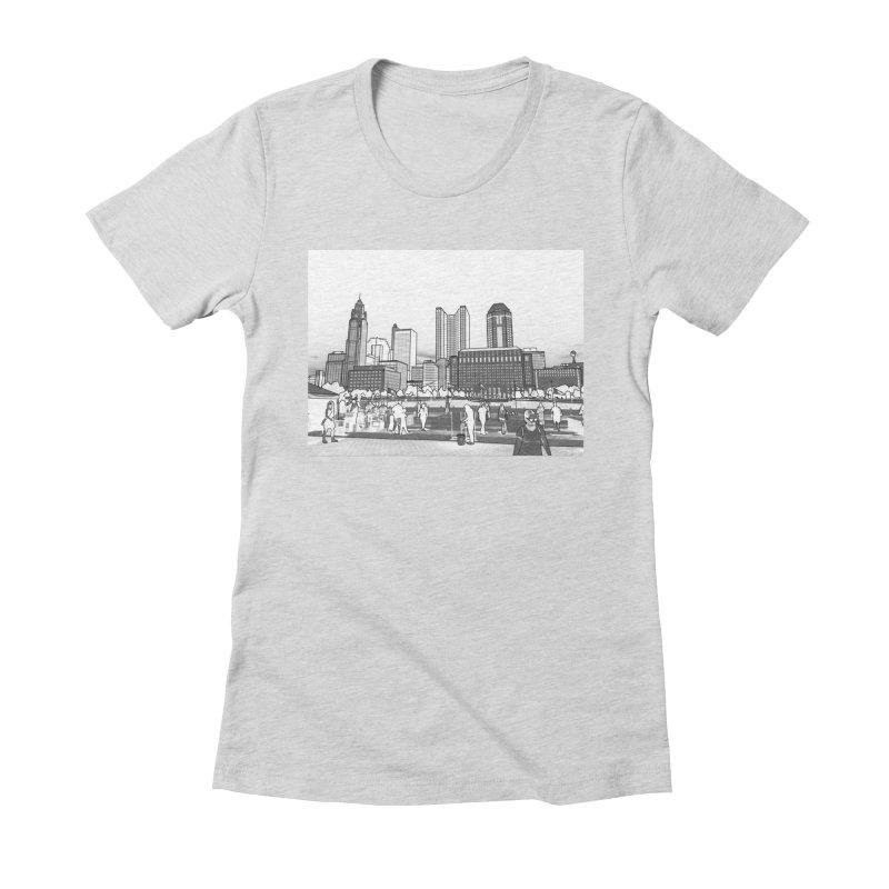Columbus Skyline (White) Women's T-Shirt by Alison Sommer's Artist Shop
