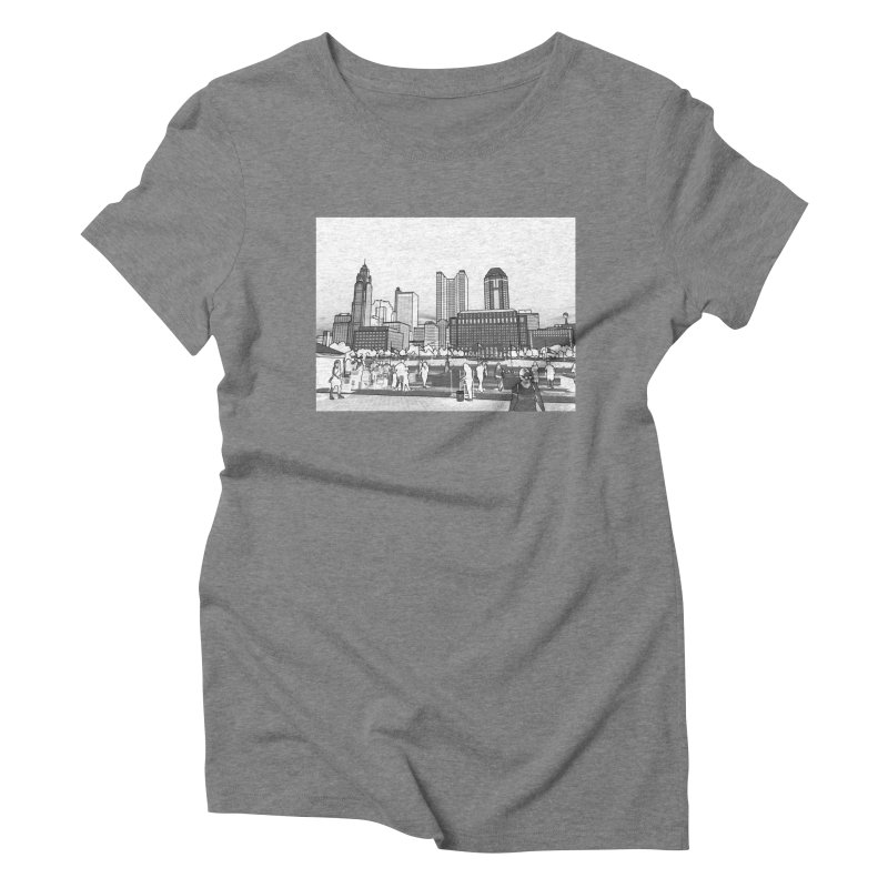 Columbus Skyline (White) Women's Triblend T-Shirt by Alison Sommer's Artist Shop