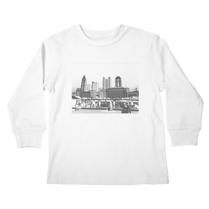 Columbus Skyline (White) Kids Longsleeve T-Shirt by Alison Sommer's Artist Shop