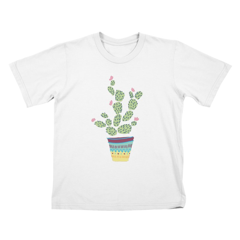 Cactus Number Three Kids T-Shirt by Zach Woomer's Little Shop