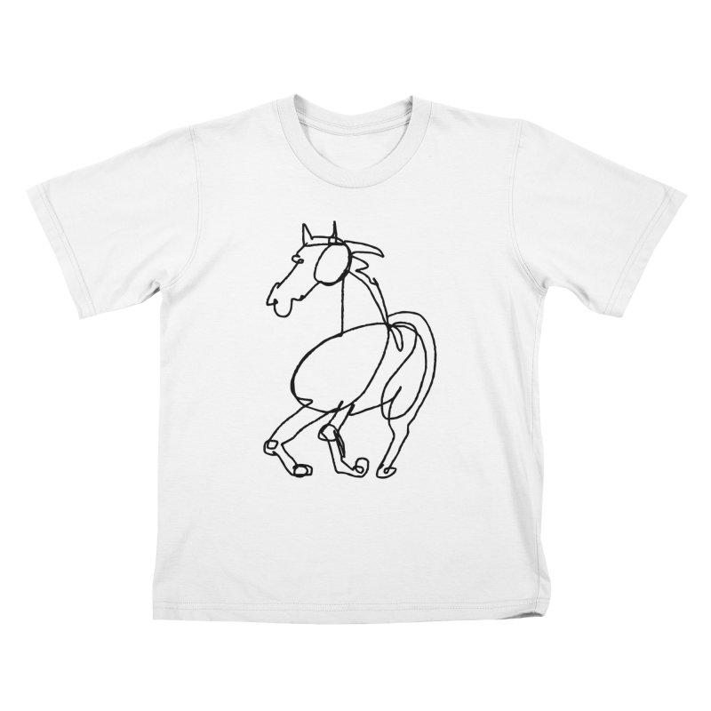 A One Line Horse of Course Kids T-Shirt by Zach Woomer's Little Shop