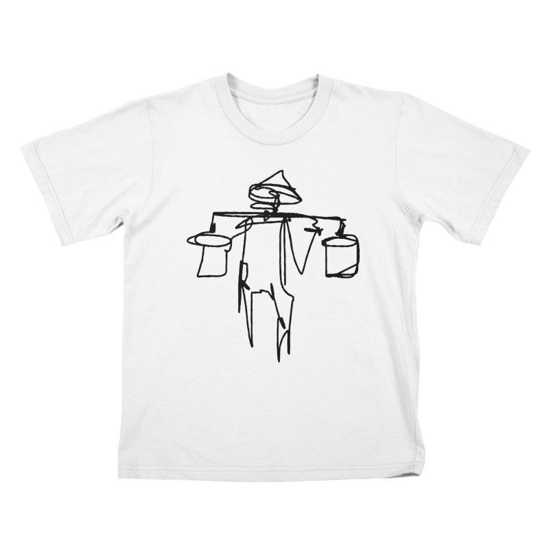 One Line Worker Kids T-Shirt by Zach Woomer's Little Shop