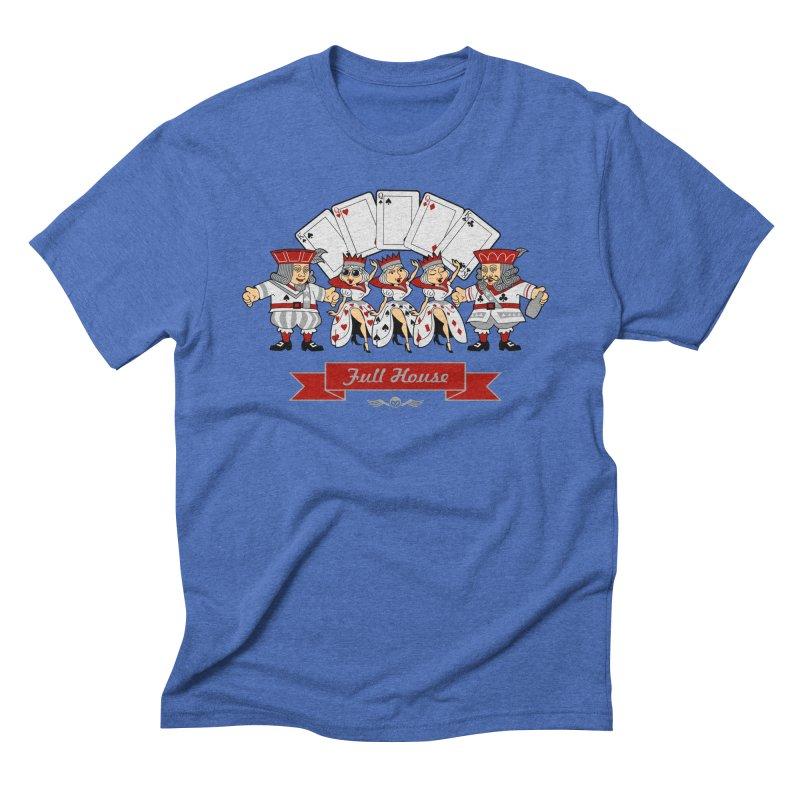 Alkmist Poker Full House in Men's Triblend T-shirt Blue Triblend by Alkmist's Creative Blends