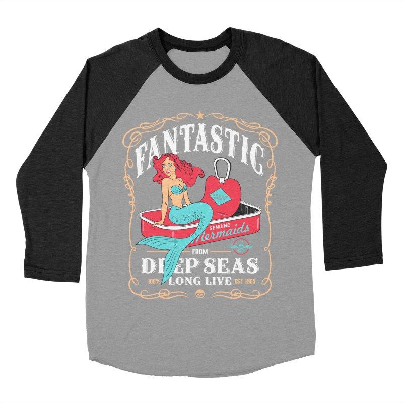 Alkmist Genuine Mermaids Men's Baseball Triblend T-Shirt by Alkmist's Creative Blends