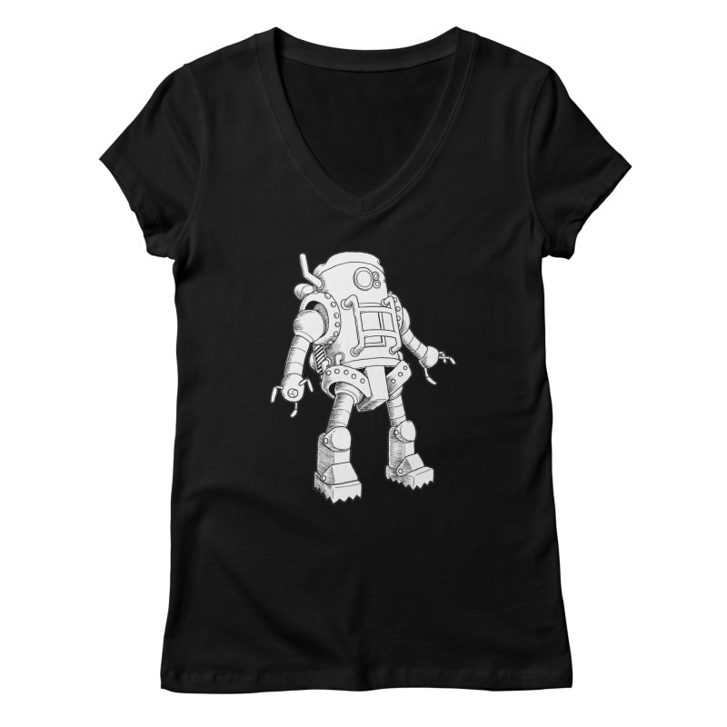 robot Women's V-Neck by allandotson's Artist Shop