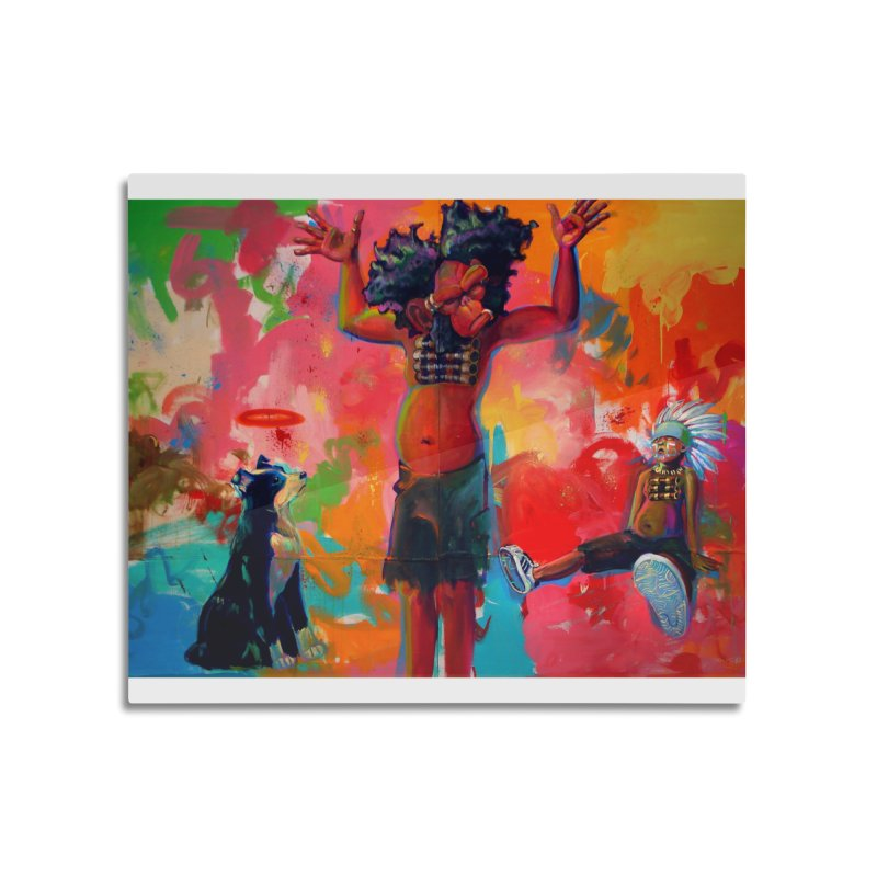 a boy, a troll, a dog and a johnnypump Home Mounted Aluminum Print by All City Emporium's Artist Shop