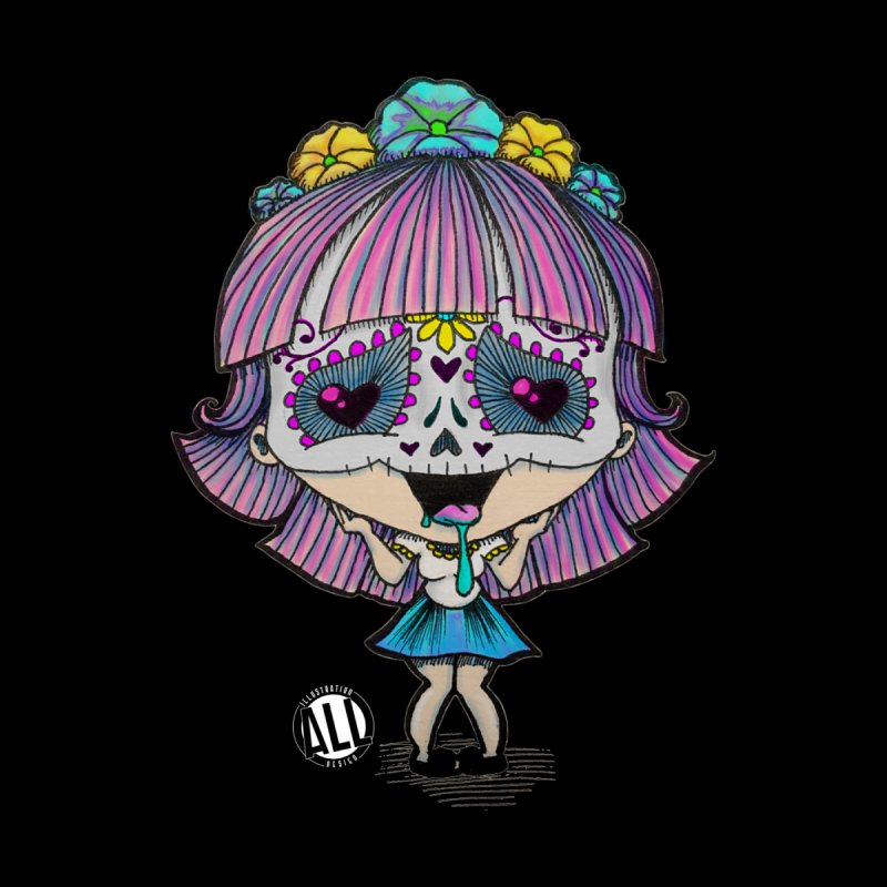 Kawaii Sugar Skull Chibi Women's T-Shirt by All or Nothing illustration and design